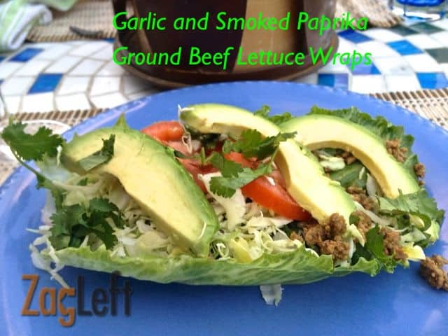 Light and flavorful California inspired Garlic and Smoked Paprika Ground Beef Lettuce Wraps - a fun, tasty and low calorie dinner. \ Zagleft
