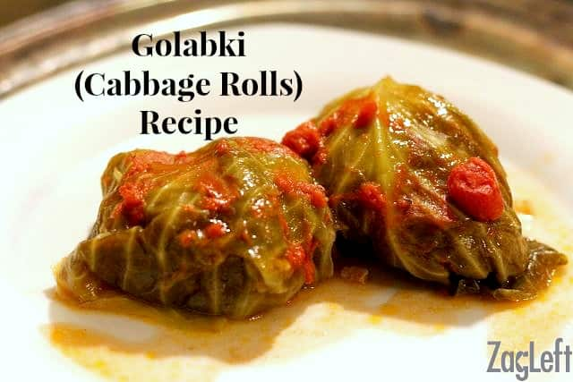 How to make traditional Polish Golabki (Stuffed Cabbage Rolls) combining ground beef, ground pork and rice and topped with a sweet and tangy tomato sauce. | zagleft.com