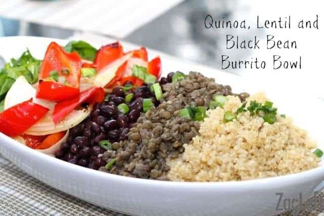 Here's an easy summertime meal that's loaded with flavor and protein, Quinoa, Lentil and Black Bean Burrito Bowl!  ZagLeft