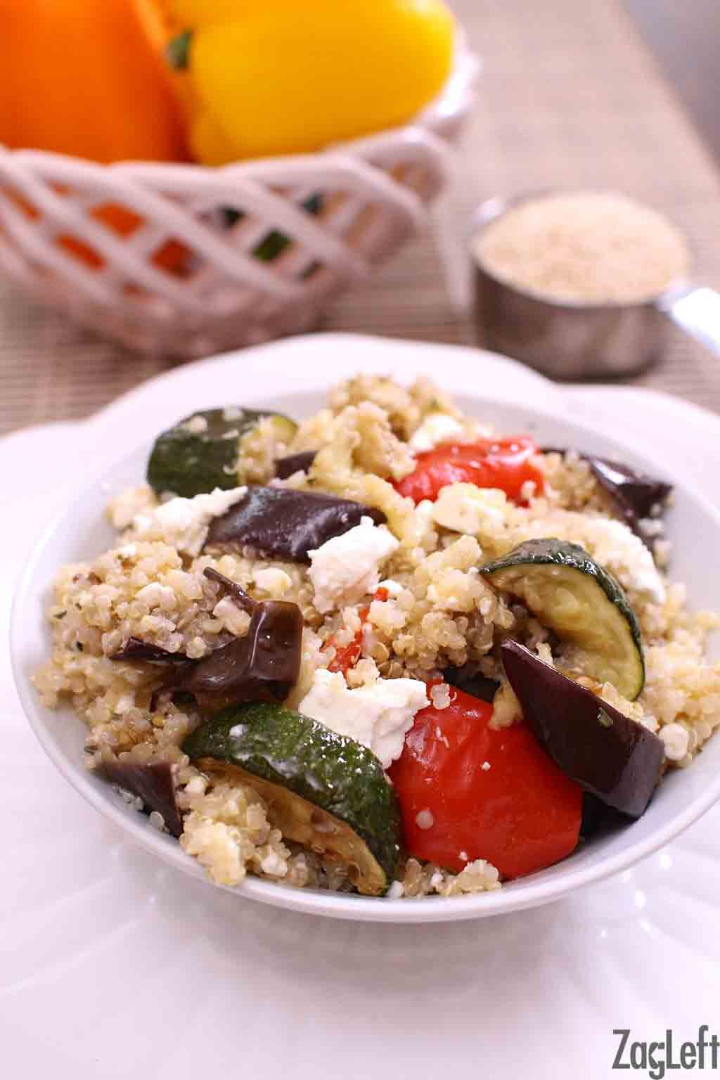 A hearty mixture of quinoa, roasted eggplant, zucchini and red peppers, this generous salad is a meal in a bowl. This Roasted Vegetable and Quinoa Salad is perfect as a side dish or as the main course.